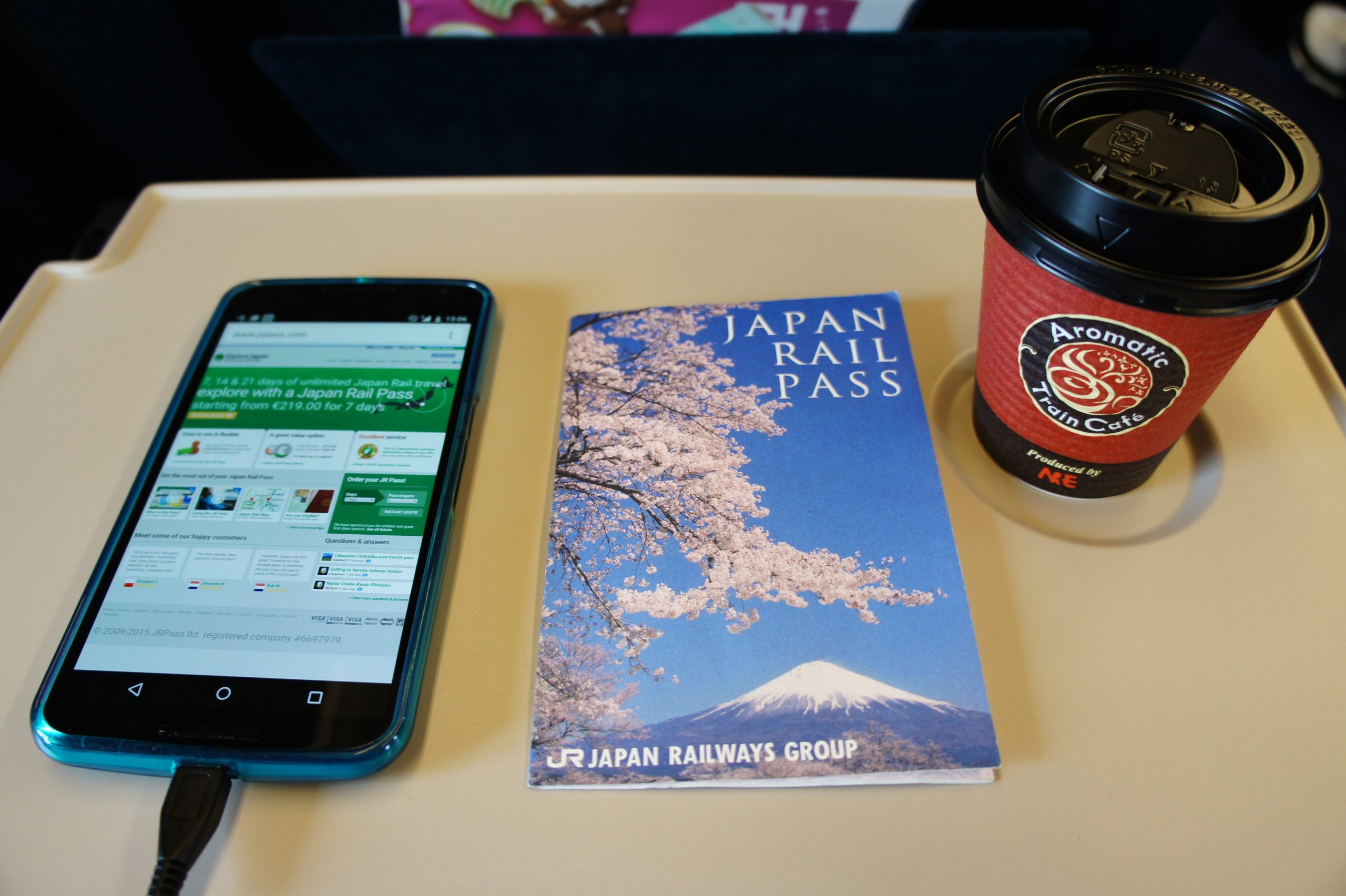 Affiliate Link: JR Pass, Phone and Coffee Cup